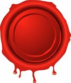 stock photo of wax seal  - Illustration of an old fashioned hot wax seal in red - JPG