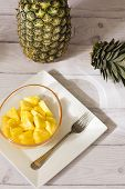Tropical Fruit Pineapple - Ananas Comosus Sliced ​​on White Elegant Plate poster
