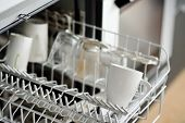 Open Dishwasher With Dirty Crockery In The Modern Kitchen. Close-up. Domestic Appliances For Help An poster