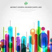 Abstract Dynamic Composition Made Of Various Colorful Rounded Shapes Lines Rhythm White Background M poster