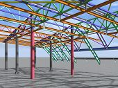 3d Rendering. Bim Model Of Metal Structure. The Building Is Made Of Metal Structures. Building Infor poster