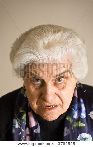 Portrait Of An Angry Mature Woman.