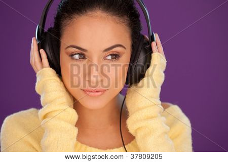 Beautiful Woman Immersed In Her Music
