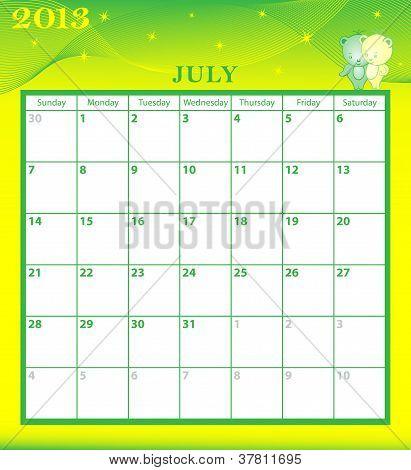Calendar 2013 July