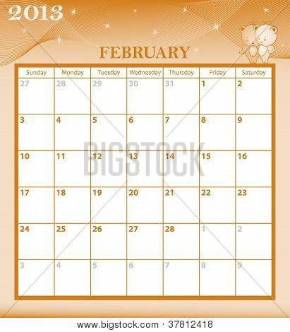 Calendar 2013 February