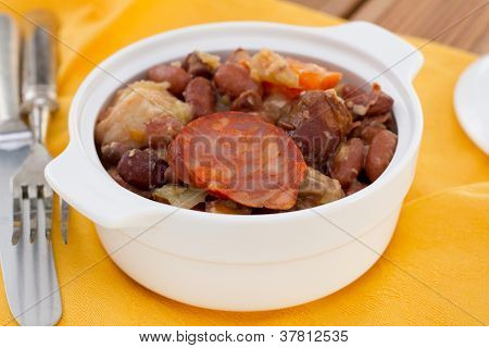 Feijoada In The White Small Bowl