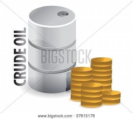 Petróleo crudo y monedas moneda ilustración diseño