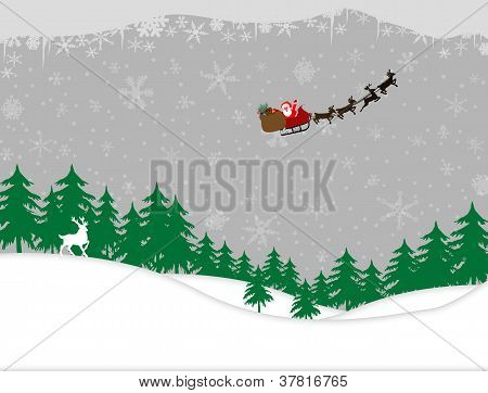 Winter Forest And Santa Sleigh