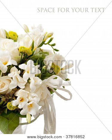 detail of white rose bouquet