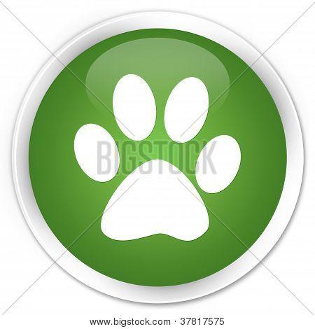 Animal Footprint Green Button