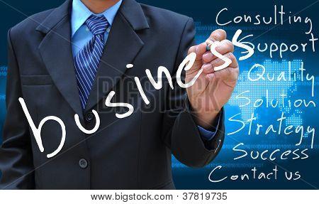 negocio de escritura de mano de hombre de negocios