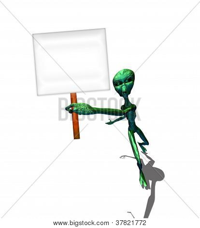 Green Alien Hold A Sign