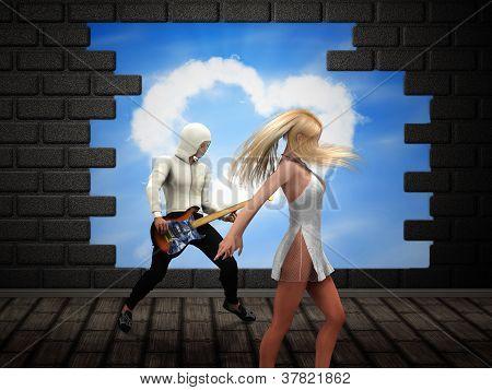 People Dancing Over Broken Brick Wall