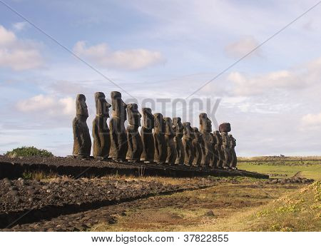 The famous fifteen  moai at Ahu Tongariki, Easter Island