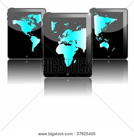 Três preto Tablet Pc com mapa mundo azul