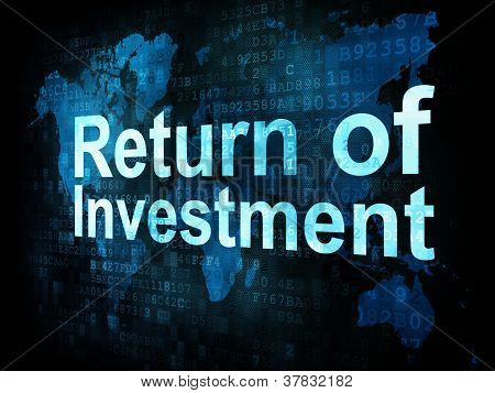 Business concept: pixelated words Return of Investment on digita