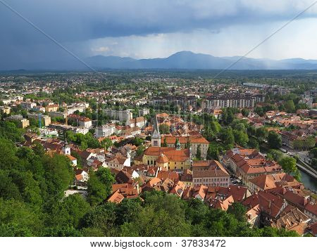 Nimbostratus Clouds Over The Capital City Ljubljana In Slovenia