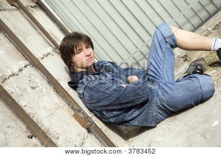 Teenager Alone At City