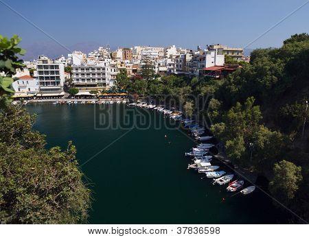 Panorama Of Aghios Nikolaos Town In Crete