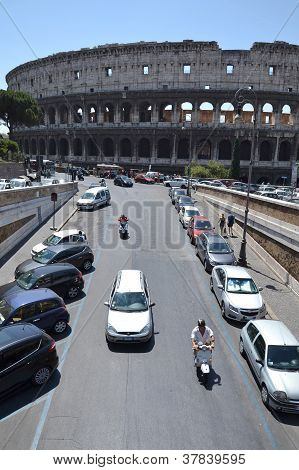 Cars in front of Colosseum