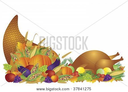 Thanksgiving Day Feast Cornucopia And Turkey Illustration