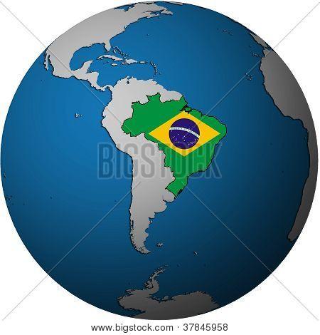 Brazil Flag On Globe Map