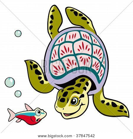 Cartoon Turtle And Fish