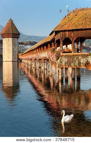 Morning Chapel Bridge In Luzern
