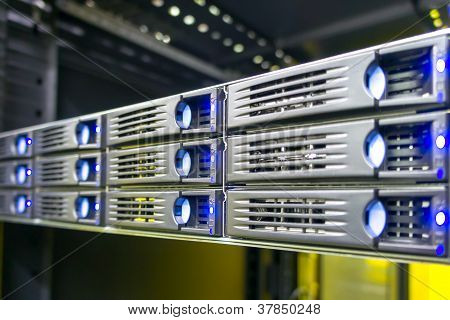 Data center rack with harddrives