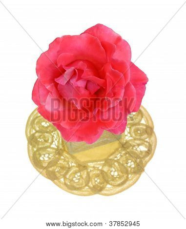 Single Pink Rose In Jar On Doily