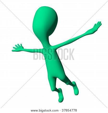 Green 3D Puppet Strange Shape Mimicking Airplane