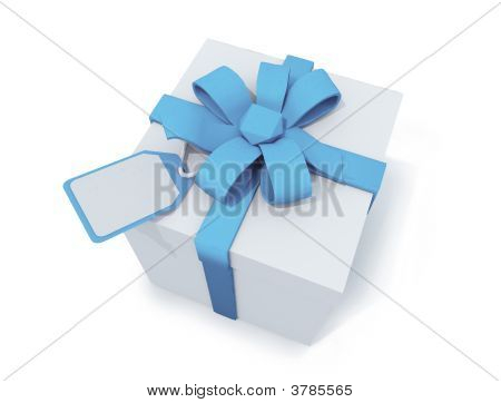 Present Box With Ribbon And Label