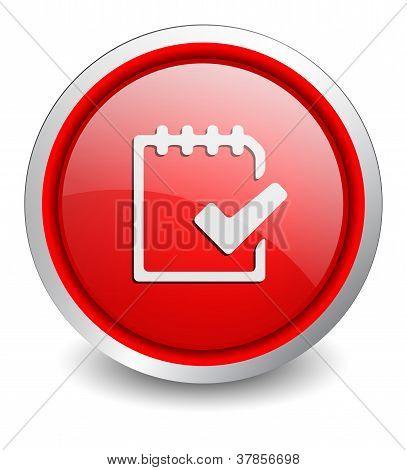 Checklist red button - design web icon