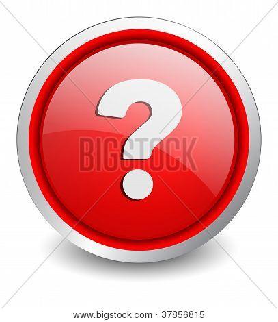 Question red button - design web icon