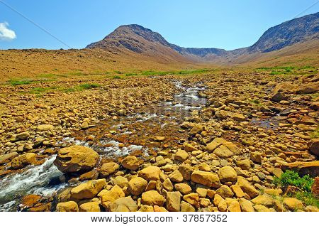 Desert Stream Cutting Through Volcanic Rock