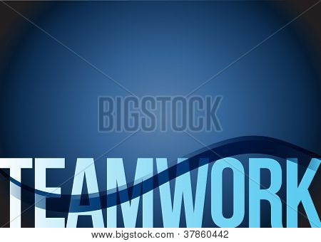 Blue Business Teamwork Wave Background