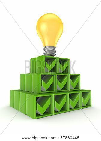 Pyramide von Teilstrichen und gelbe Lampe gemacht.