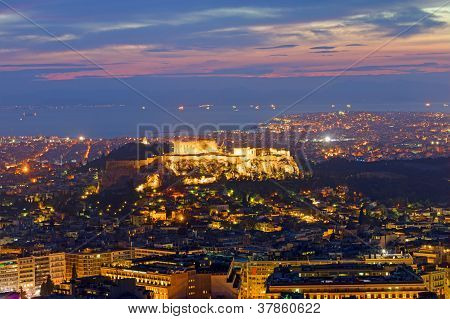 View over Athens at dawn
