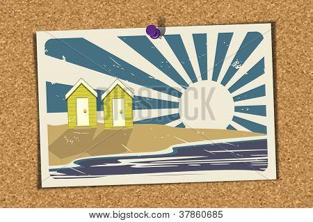 Beach Postcard On Corkboard 3.2