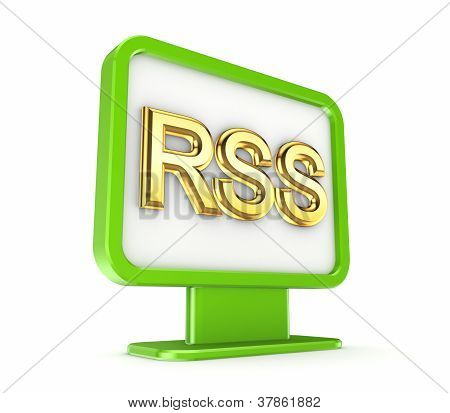 Green lightbox with a golden word RSS.