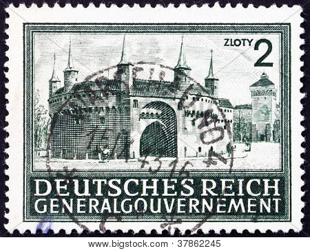 Postage stamp Poland 1943 Rondel and Florian's Gate