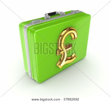 Green suitcase with golden pound sterling sign.