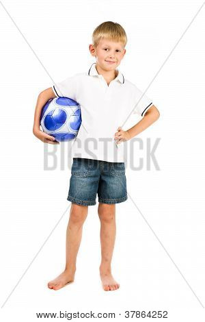 Happy Boy Holding Blue Soccer Ball With Scretched Legs Isolated Over White
