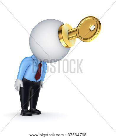 3d small person with a goden key in a hands.