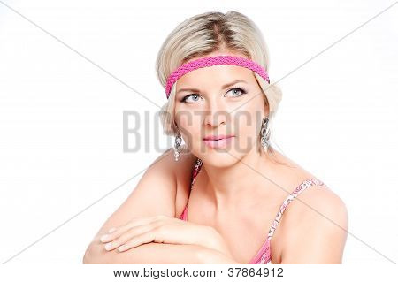 Closeup Portrait  Of  Beautiful Young Woman Isolated Over White