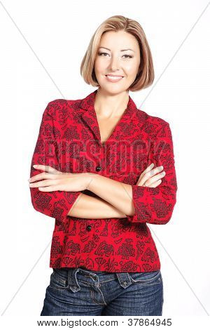 Smiling Casual Woman Standing Isolated Over White