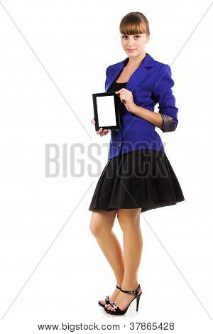 Bright Teen Girl Holding Tablet Computer Isolated On White Background