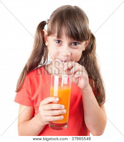 Pretty Little Girl With A Glass Of Juice