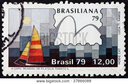 Postage stamp Brazil 1979 Hobie Cat Class, Yachts and Stamps
