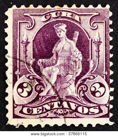 Postage stamp Cuba 1899 Woman, Allegory ofCuba